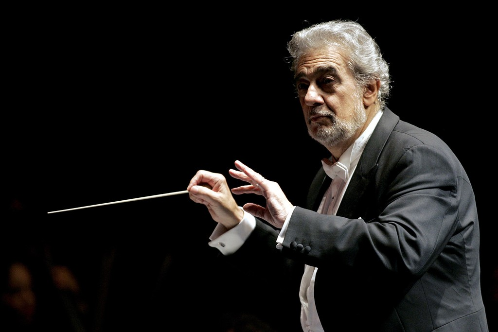 Spanish tenor Placido Domingo conducts the Puerto Rico Symphony Orchestra in San Juan